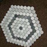 Mattonelle di mosaico Mixed del marmo di bianco grigio di esagono bianco
