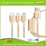 3 in 1 cavo Braided del USB Charing del nylon per il Android/iPhone/il tipo C
