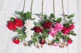 Flores rojas artificiales de seda de Rose para las flores de la falsificación de la decoración del hogar de la boda