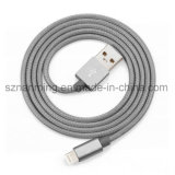 Cable de datos de carga certificado Mfi trenzado de nylon de la sinc. del cable del USB de la iluminación 8-Pin de la manera