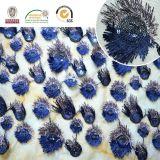 Projeto novo 135 da tela requintado do poliéster do laço da flor da cauda de Peacook do bordado