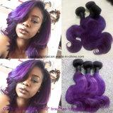 Brasilianische Karosserien-Welle der Remy Haar Ombre Farben-10inch Ot1b-Purple