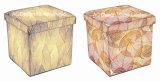 Сухой завод дизайн квадратных Cube провод фиолетового цвета кожи и дерева для хранения Османской табурет складной сиденья