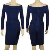 Long Sleeve One-Shoulder Night Club vestido vendaje