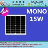 mono comitato solare di 18V 15W per il sistema 12V