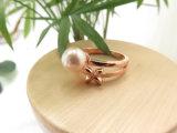 女性のためのローズの金によってめっきされるめっきのシェルの真珠の花2の円のリング