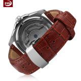 Bracelet en cuir de mode montre mécanique en acier inoxydable pour les hommes