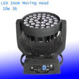 Четырехъядерные процессоры RGBW цвета 10W * 36 LED перемещение освещения головки блока цилиндров
