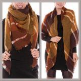 Brown/gebrannter orange Plaid-Zudecke-Schal mit Franse