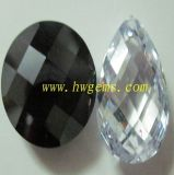 White Pear Shape Checkerboard Cut Cubic Zirconia Drilled Bead (CZ1-1)