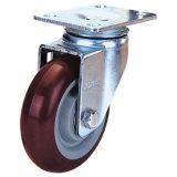 Schwenker industrielles PU-Fußrollen-Rad (rot)