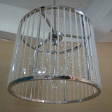 Moderner Hotel-dekorativer Edelstahl-zylinderförmige hängende Kristalllampe