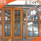 Лиственницы древесины сосенки окна Casement Кругл-Верхней части сплав Windows светлой решетки твердой деревянный польностью разделенный алюминиевый