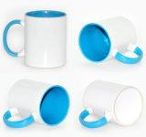Marchio promozionale di Pringting tazze di caffè bianco di ceramica dello spazio in bianco del commercio all'ingrosso della tazza di colore interno della 11 oncia