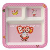 100%Tableware-Kid La mélamine est mignon 3 carrés-divisé la plaque (BG823)