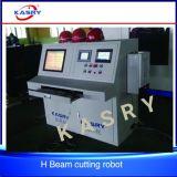 Linha automática máquina lidando do feixe da construção de aço H da estaca do plasma do CNC da placa de ângulo