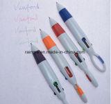 Le Baril en plastique de promotion de l'argent 4 en 1 stylo à bille multicolore avec mousqueton