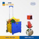 Carrinho de Compras de plástico dobrável pequena com duas rodas e pega