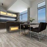 台所磁器によって艶をかけられる床の木の質のタイル