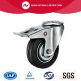 4 Zoll-mittleres Aufgaben-Schwarz-Gummifußrolle mit Bremse
