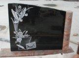طبيعيّة صوّان أسود صليب نصب شاهد القبر