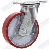 Chasse industrielle de roue de polyuréthane de faisceau de fer de 6 pouces avec le frein
