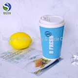 Copos de café dobro do papel de embalagem Da parede com as tampas plásticas do Sipper