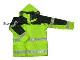 Upa023 полиэстер Оксфорд ПВХ/PU Non-Breathable/PU Дышащий слой светоотражающей ткани Parka трость Worksuit