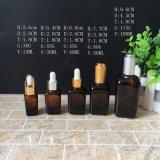 30ml de vierkante AmberFles van de Essentiële Olie van het Flessenglas van het Druppelbuisje van het Glas
