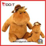 O hipopótamo de assento bonito do luxuoso macio super enchido caçoa o brinquedo com chapéu