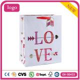 """Brillo """"amor"""" Valentine′ Bolsa de papel del regalo de la ropa de las compras del día de S"""