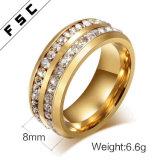 Ultimo anelli di cerimonia nuziale placcati di aggancio del diamante di Zircon di disegno oro per le donne