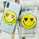 Fashion paillettes poudre chute en caoutchouc TPU visage souriant cas Téléphone mobile
