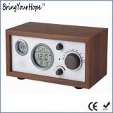Reloj multifunción de estilo retro de madera mostrar la temperatura de la Radio FM (XH-FM-018)