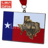 Échantillon gratuit de vente chaude métal personnalisée drapeau du pays rempli de couleurs Médaille Sport