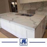 Calacattaの白い水晶平板のカウンタートップ、表またはFlooerの屋内装飾