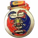 工場リボン(MD-07)が付いているカスタムクラフトの黒の金属の記念品のスポーツ賞メダル