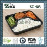 memoria di plastica a gettare Containers&Box degli alimenti a rapida preparazione degli scompartimenti del nero 4 di 1000ml/36oz/insalata/panino