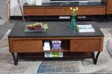 Tavolino da salotto superiore del blocco per grafici di legno solido della pietra nera del fuoco (CJ-2040)