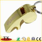Apri di bottiglia multifunzionale del fischio del metallo dell'oro Keychain per i regali promozionali
