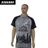 T-shirt 100% de polo de Mens estampé par sublimation faite sur commande de polyester de vente en gros d'OEM