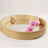La competencia de alta calidad ronda única flor de madera Mostrar espejo de pared en MDF y chapa