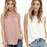 L'été femme dentelle en mousseline Tee-shirts col rond sans manches Parti Patchwork Club rue occasionnel Fashion Lady T Shirt Top 35