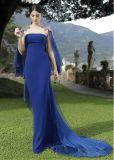 파란 시퐁 정장 드레스 구슬로 만드는 구슬로 만드는 당 야회복 E1418