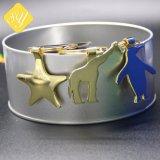 Chapado en oro de dibujos animados de logo personalizado de estrellas de metal Llavero Forma de Animales