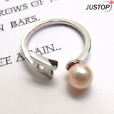 白い金のめっきされた宝石類によって培養される淡水の真珠は女性のためのデザインを鳴らす