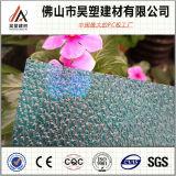 Feuille en plastique de toiture de Sun de PC gravée en relief par polycarbonate vert