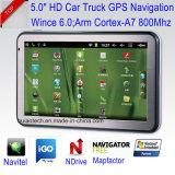 """Nuevo 5.0"""" coche navegación GPS con Cortex A7, sistema de navegación GPS, transmisor de FM, navegador GPS de navegación por satélite de seguimiento, los auriculares Bluetooth, ISDB-T TV, USB Host, el Tmc"""