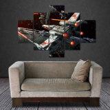 5つのパネルの無枠のキャンバスの写真はスターウォーズの宇宙の壁の装飾のオフィスのアートワークのGicleeの絵画ホーム装飾を印刷する