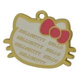 Het gouden Ronde Metaal hangt de Charmes van de Markering met Gegraveerd Embleem